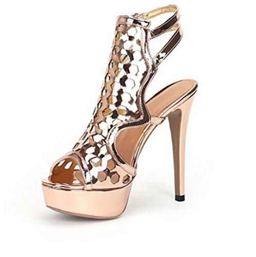 Alto Zapatos Zapatos Sandalias La De Corte De Mujeres La Kaitzen Toe Crossover Boda De De Hebilla Boots Peep Golden Moda Strappy Tamaño De De Ladies Tacón Metal Parte wBdqdzt