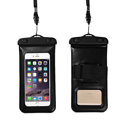 "SOOPOTAY Universal Waterproof Case Cellphone Dry Bag Pouch for iPhone Xs Max XR XS X 8 7 6S Plus, Galaxy S10 Plus S10 S10e S9+/Note9, Pixel 3 XL HTC LG Sony Moto up to 6.5"" (Black)"