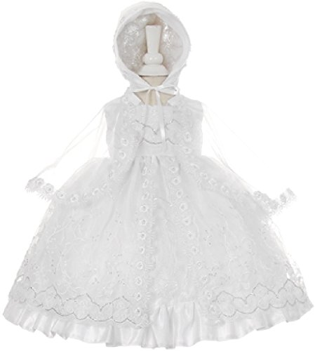 Little Girls Virgin Mary Lace Embroidery Baptism Christening Dresses White 3 (STKH58) (Embroidery Sash)