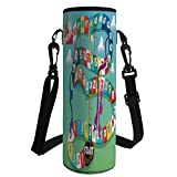 Water Bottle Sleeve Neoprene Bottle Cover,Board Game,Swirled Snakes and Ladders Start and Finishing Line Clouds Crown Winner Childish Decorative,Multicolor,Fit for Most of Water Bottles