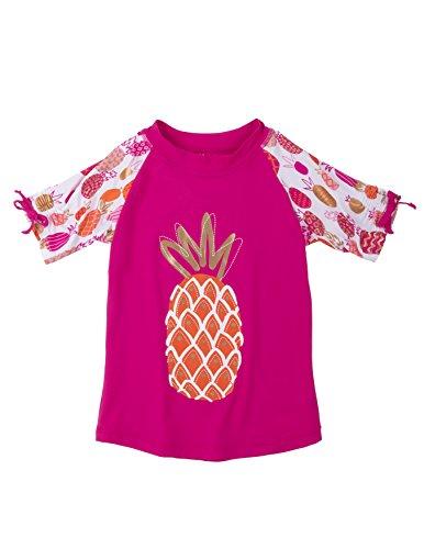 Hatley Little Girls' Short Sleeve Rash Guard, Tropical Pineapples, 4