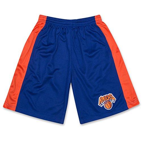 fan products of NBA Boys Athletic Sports Basketball Shorts With Elastic Waistband New York Knicks Royal Orange White Medium