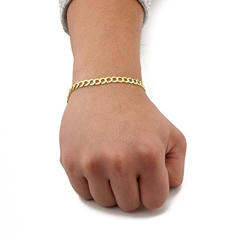 """LoveBling 14K Yellow Gold 5.5mm 8"""" Solid Pave Two-Tone Curb Chain Bracelet with White Gold Pave Diamond Cut, with Lobster Lock"""