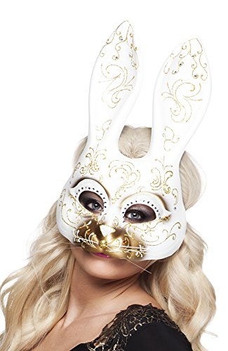 (Boland 00205 Adults Coniglietta White Bunny Venice Mask With Gold Detail Fancy Dress Accessory)