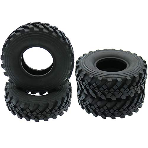 RC 1/10 Scale Rubber Tires Tyres 4Pcs 2.2inch Set 130MM Rock Crawler Car Off Road Climbing 1.9 Inch Beadlock Wheel Traxxas Axial SCX10 (Herringbone Military Truck) ()