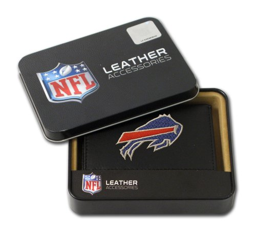 NFL Buffalo Bills Embroidered Genuine Leather Trifold (Buffalo Bills Nfl Leather)