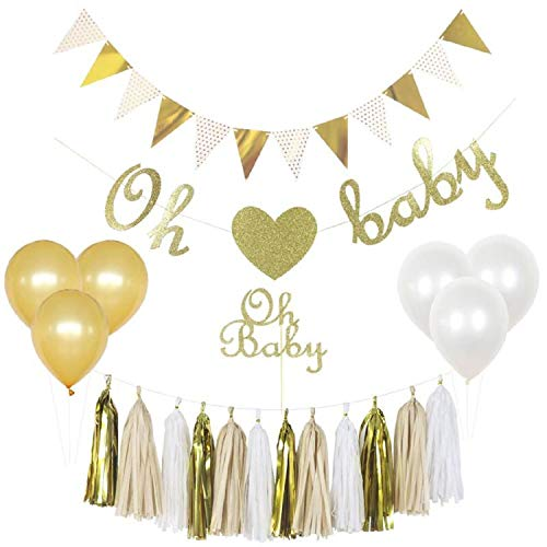 Baby Shower Decorations Gender Neutral Kit, Boy or Girl, Unisex, Gender Reveal Party Supply Set, Oh Baby Cake Topper, Oh Baby Banner, Gold Glittery Font, Tassels, Pregnancy Announcement