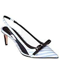 Please note: Size selections are European. For US conversions, please reference size chart.. Made in Italy. Color/material: blue and white stripe textile with clear PVC. Design details: black leather bow and heel. 2.6in heel. Please note: All...