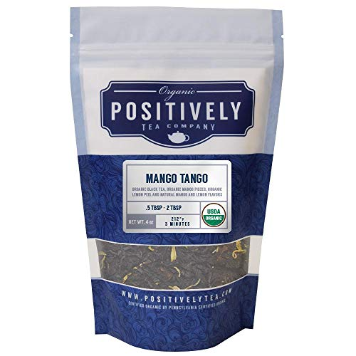 Positively Tea Company, Organic Mango Tango, Black Tea, Loose Leaf, 4 Ounce Bag