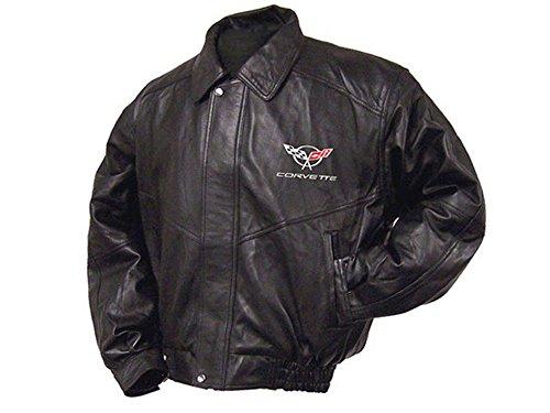 Corvette Leather Bomber Jackets - Corvette Jacket Black Lambskin Bomber C5 Emblem (3 Extra Large)