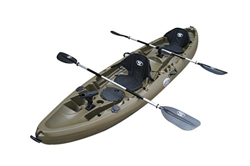 BKC UH-TK219 12-Foot 2-inch Tandem Sit On Top Kayak 2 or 3 Person with 2 Paddles, 2 Seats and 6 Fishing Rod Holders Included