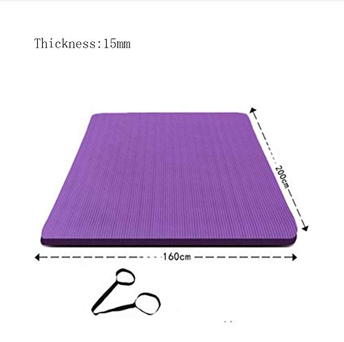 Mdck Fitness Mat,200cm Double Pad Yoga Mats Thickened 15mm Wide 160cm Pilates Mat