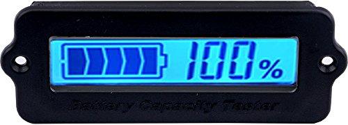 Yeeco Battery Meter, Blue LCD Battery Capacity Monitor Digital Battery Tester, 12V 24V 36V 48V Lead Acid Battery Status DC 8-63V Lithium ion Battery Electric Quantity Detector Automotive