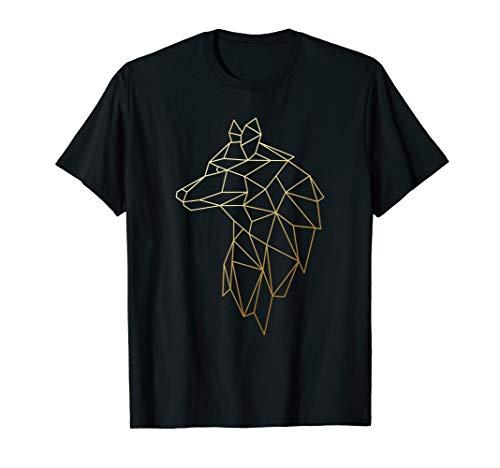 Wolf Shirt Geometric abstract Gold wolf polygonal T-Shirt