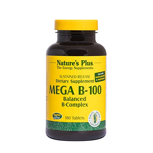 Natures Plus Mega B100 Complex – 180 Vegetarian Tablets, Sustained Release – High Potency B Complex Vitamin Supplement, Energy & Brain Booster, Stress Reliever – Gluten Free – 180 Servings