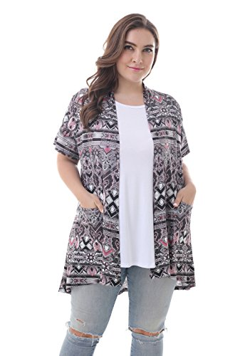 ZERDOCEAN Women's Plus Size Short Sleeve Lightweight Soft Printed Drape Cardigan with Pockets 101 -