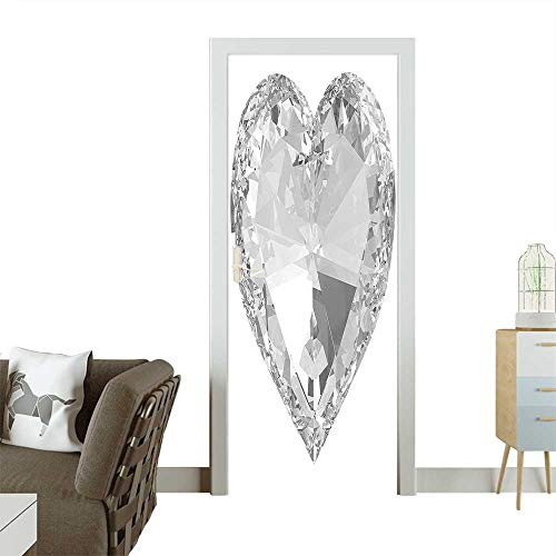 Door Sticker Wall Decals Big Diamonds Precious Gems Stones Heart Rock Romance Love Crystal Design Gray and Easy to Peel and StickW38.5 x H79 INCH