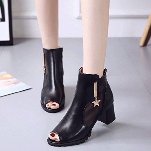 épais Chaussures Glissière Femmes Sandales Noir de Arrière pour Occasionnels Respirant de Mode Bouche Sandales Talon LBLX Sandales Poisson RBPUA66