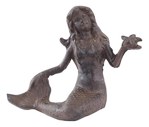 (Iron Sitting Mermaid Holding Starfish)