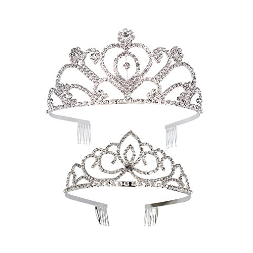 Jaciya 2 Pack Tiara Crown Rhinestone Headband Comb Pin Wedding Bridal Crown Party -