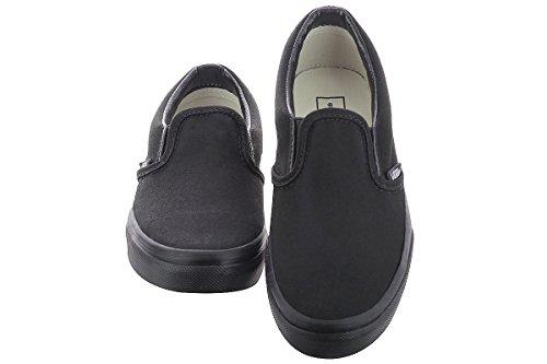 black On Black Checkerboard Kids Slip Vans Skate Shoe Classic O78n4