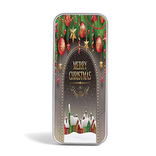 Eco Friendly,Mini Pencil Box,Christmas Decorations,Gift,Jewelery and Storage Tin Kit,Home Organizer,Classical Christmas Ornaments and Baubles Pine Tree Twig Tinsel Print