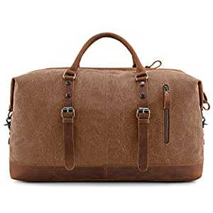 HYXADLY Leather Canvas Travel Bag Europe and The United States Wind Luggage Bag Messenger Bag Multi-Function Travel Bag Crazy Horse Leather Canvas Bag (Color : Khaki)
