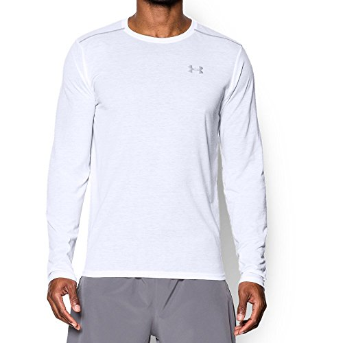 Under Armour Men's Threadborne Streaker Long Sleeve, White/Steel, Small