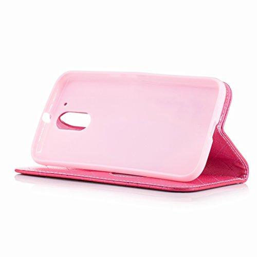 Yiizy Motorola Moto G4 Funda, Amar Diseño Solapa Flip Billetera Carcasa Tapa Estuches Premium PU Cuero Cover Cáscara Bumper Protector Slim Piel Shell Case Stand Ranura para Tarjetas Estilo (Rosa Roja)