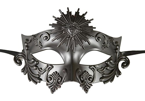 [KAYSO INC Roman Gladiator Men's Venetian Masquerade Mask, Black] (Cheap Roman Costumes)