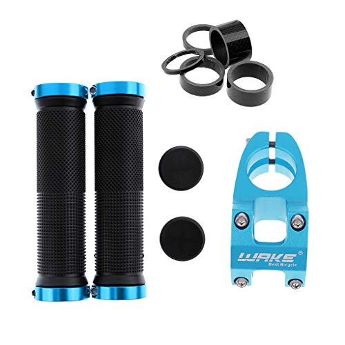SM SunniMix Mountain Bike Road Bicycle 31.8mm Short Handlebar Stem + 2Pcs Scooter Handle Bar Rubber End Grip + 5Pcs Headset Spacers Washers 3mm 5mm 10mm 15mm 20mm ()