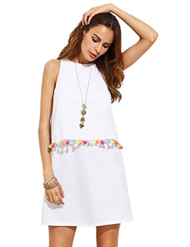 ROMWE Womens Round Neck Tassel Trim Sleeveless Mini A-Line Dress White S