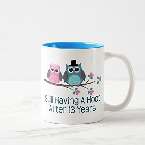 Zazzle Gift for 13th Wedding Anniversary Hoot Coffee Mug, Light Blue Two-Tone Mug 11 oz