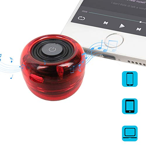 Wireless Speakers, Crystal Portable Mini Speaker with 3.5mm Aux Audio Jack Plug in Clear Bass Micro USB Port Audio Dock for Smart Phone, for iPad, Computer (Red)