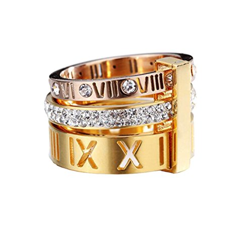- PMTIER Women's Stainless Steel 18k Gold Plated Roman Numeral White Diamond 3 in 1 Ring Size 6