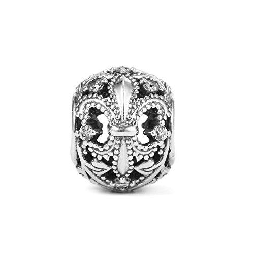 Pandora Fleur de Lis Openwork Charm in 925 Sterling Silver w/Cubic Zirconia, 791378CZ