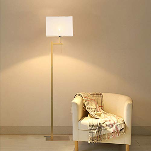 WAYKING Floor Lamp, Modern Standing Lamp with Gold Metal Base, White Shade, Pull-Chain On/Off Switch