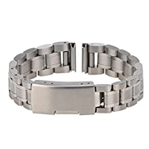 Xuexy 16mm Stainless Steel Motorola Moto 360 42mm 2nd Gen Watch Band Strap Replacement Bracelet (Moto 360 2nd Gen 42mm Women's 2015),Silver
