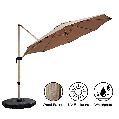 PAPAJET 11 FT Offset Cantilever Umbrella Aluminum Garden Patio Umbrella