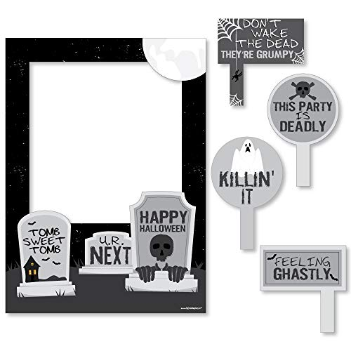 Big Dot of Happiness Graveyard Tombstones - Halloween Party Photo Booth Picture Frame & Props - Printed on Sturdy Material]()