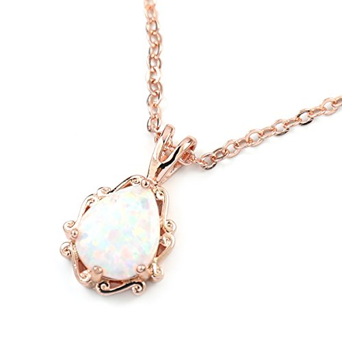 Pear Rose Gold Necklace (FC JORY White & Rose Gold GP Women Girl CZ Crystal Pendant Pear Created Opal Necklace (Rose gold))