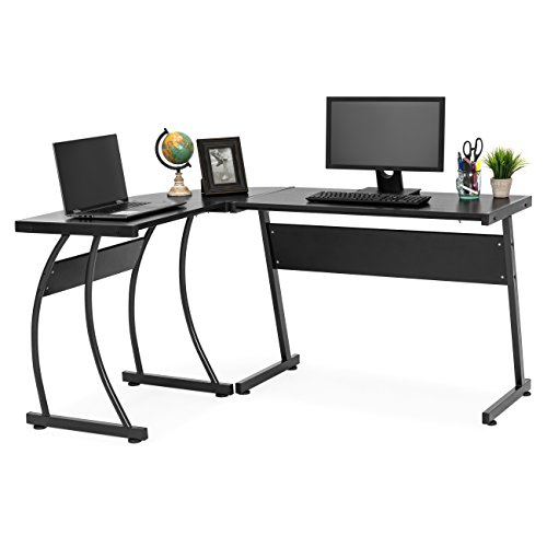 Best Choice Products 3-Piece L-Shaped Corner Computer Desk Workstation with Metal Frame, Foot Pads, Black