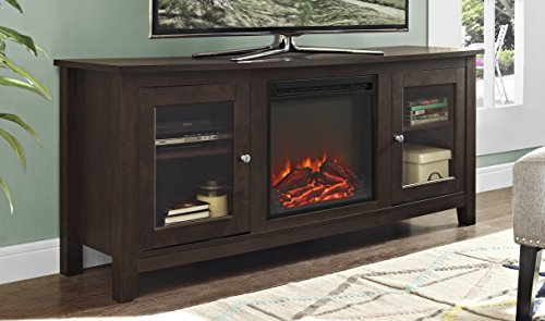 """Price comparison product image WE Furniture 58"""" Wood Media TV Stand Console with Fireplace - Traditional Brown"""