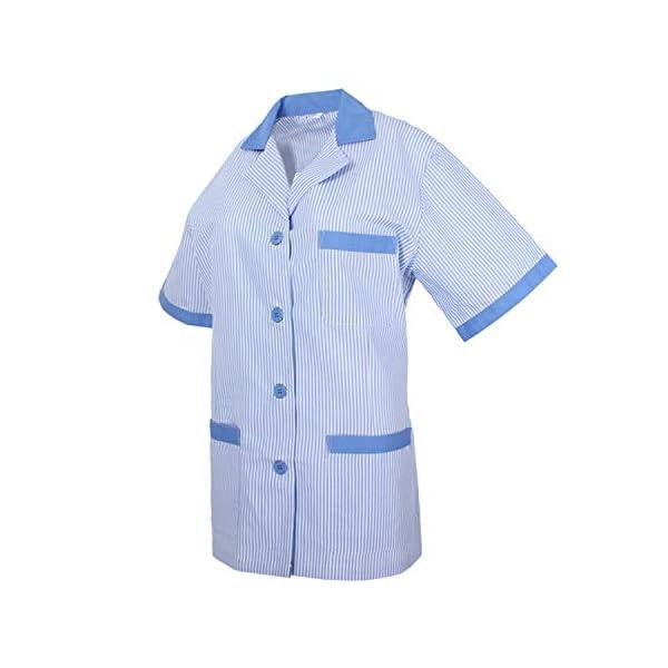 MISEMIYA - Casaca Mujer Cuello Solapa Raya Uniforme ESTÉTICA Médico Enfermera Dentista Limpieza Veterinaria SANIDAD HOSTERERÍA Ref:T820 2