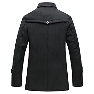 Wantdo Men's Stand Collar Peacoat Single Breasted Outwear Jacket Black Medium