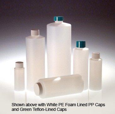 Qorpak PLC-03413 HDPE Cylinder Bottle with 24-410 White Polypropylene SturdeeSeal Polyethylene Foam Lined Cap, 8 oz, Natural (Pack of 48)