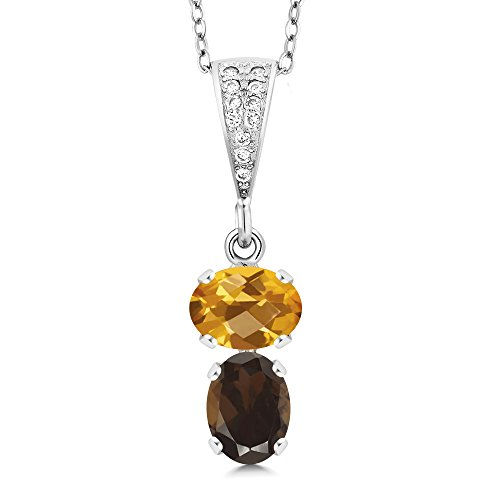 Gem Stone King 2.52 Ct Oval Checkerboard Yellow Citrine Brown Smoky Quartz 925 Sterling Silver Pendant