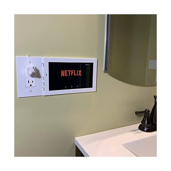 Amazon-Fire-7-Wall-Mount-Kit-By-Lux-Mounts-in-White-Attach-to-Outlet-or-Switch-Easy-Installation-Damage-free-for-Kiosk-Show-Display-Smart-Home-Interface-Security-Camera-Viewer-Alexa-On-Wall