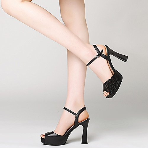 Shoes Silver Toe Heel High Rhinestone Shoes Open Platform Mouth Thick Summer Black Waterproof Color Heel EU38 5 Roman CN38 UK5 Women's Size Fish ZHIRONG Sandals 10CM nwqY86HY