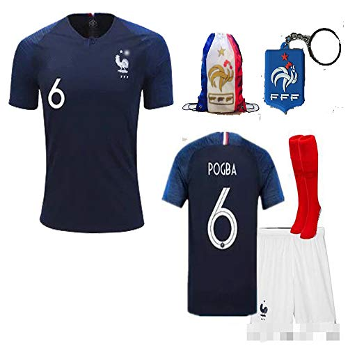 France Soccer Team Pogba Griezmann Mbappe Kid Youth Replica Jersey Kit : Shirt, Short, Socks, Bag, Key, Please Check Size Chart (P. Pogba, Size 24 (7-8 Yrs Old Approx.))
